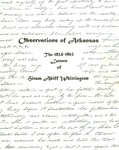 Observations of Arkansas: The 1824-1863 Letters of Hiram Abiff Whittington
